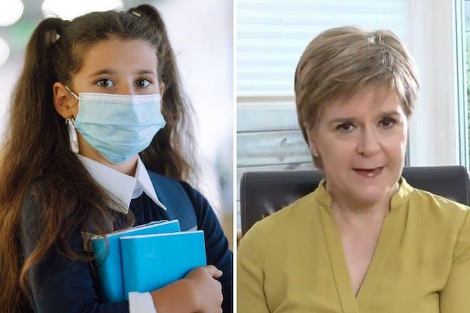 left: school girl in maskright: woman speaking