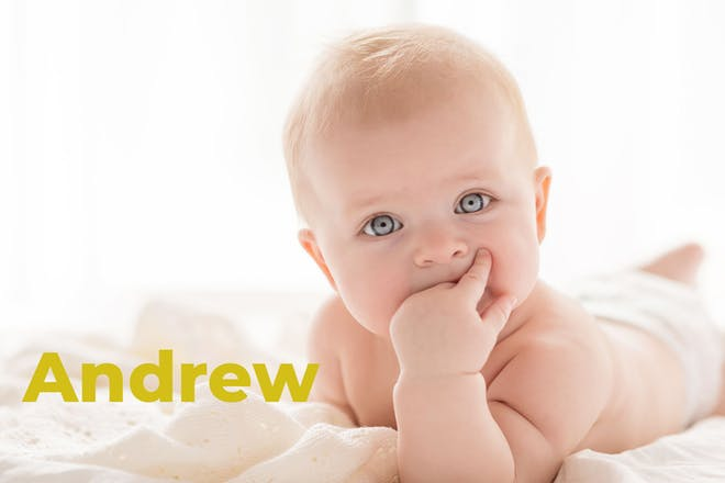 Baby with hand in mouth. Name Andrew written in text
