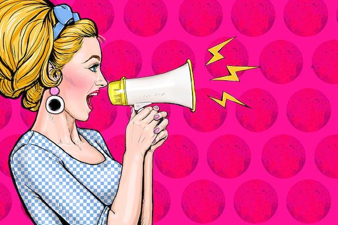 pop art woman speaking into megaphone