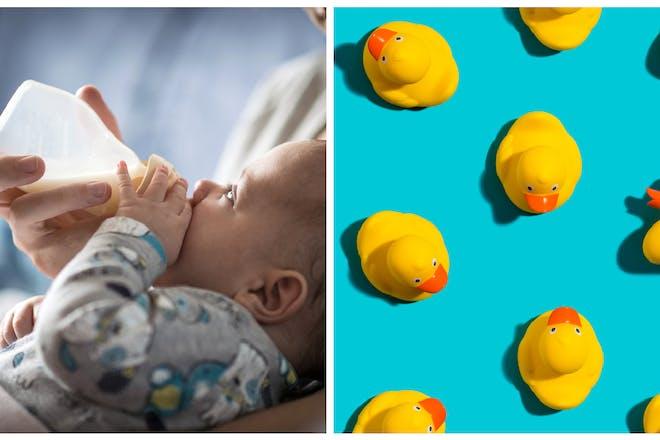 Baby bottle / rubber ducks