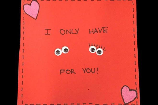 googly eye Valentine's card