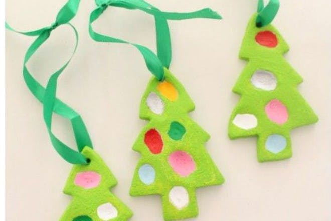 salt dough christmas trees with fingerprint baubles