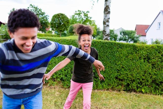 Kids playing tag