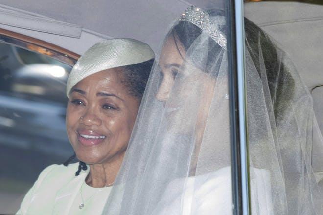 Doria Ragland with Meghan Markle in car royal wedding