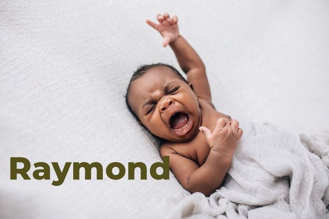 Baby yawning with arm stretched in air. Name Raymond written in text