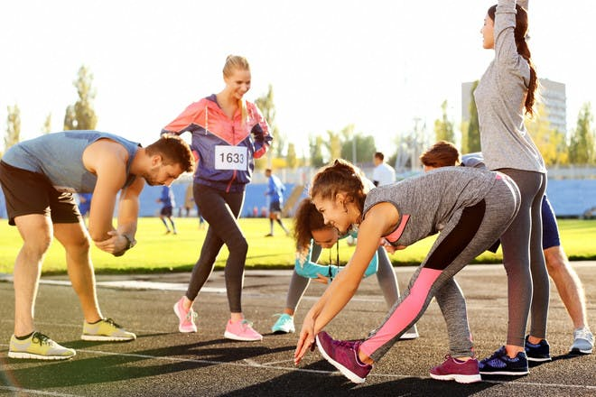 Parents run at sports day