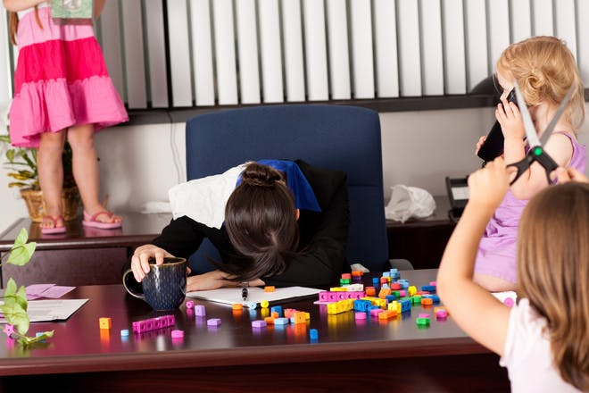Stressed mum with kids