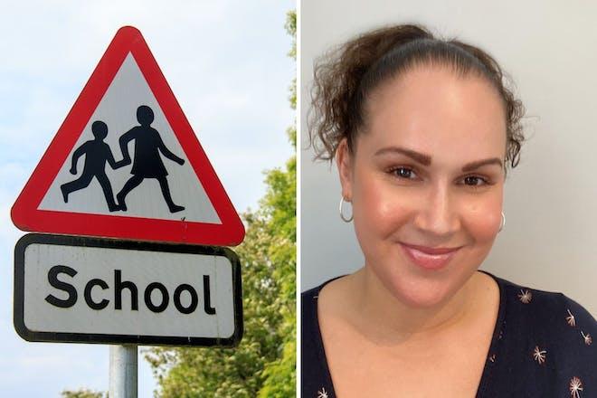 Left: school signRight: woman smiling