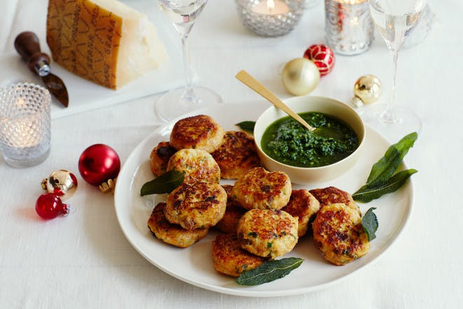 Christmas turkey dumplings recipe. Turkey and pumpkin dumplings with watercress dip