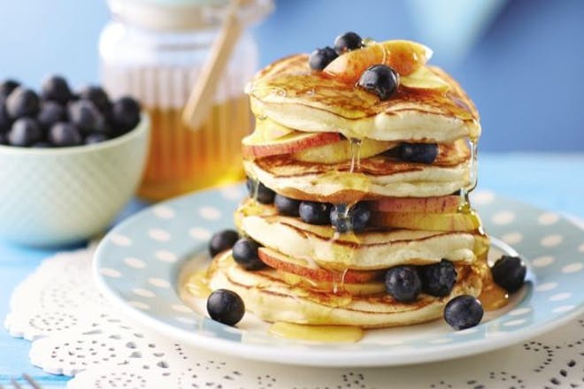 Apple and blueberry pancake stack