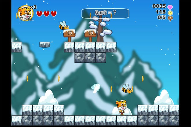 platform maths game featuring tommy the tiger