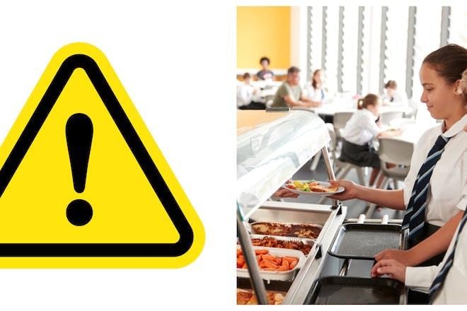 warning symbol / kids getting school dinners