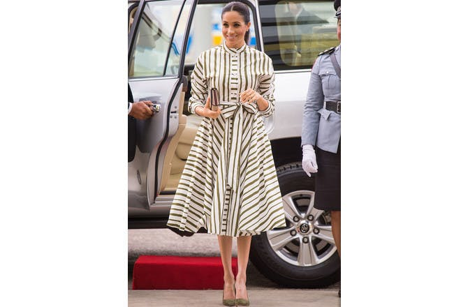Meghan Markle pregnant in striped dress