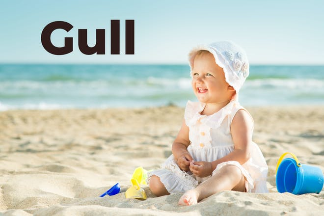Baby girl on the beach with Gull in text