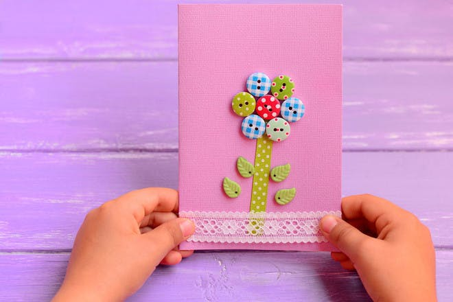 Mother's Day card with button flower
