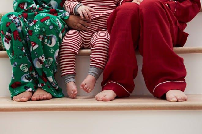 cosy pyjamas on stairs