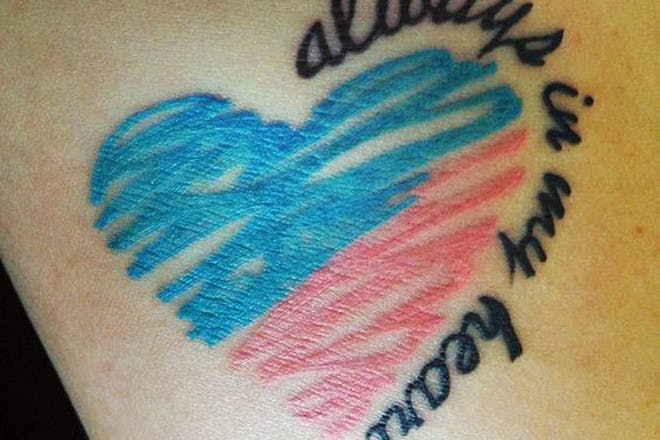 Miscarriage tattoo reading Always in my heart