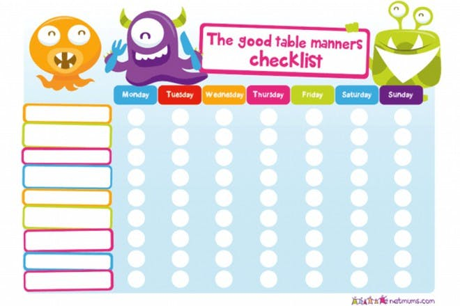 good table manners reward chart