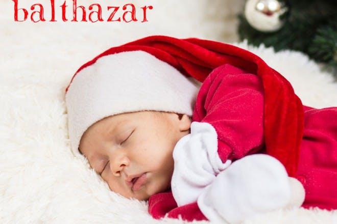 sleeping baby in christmas hat