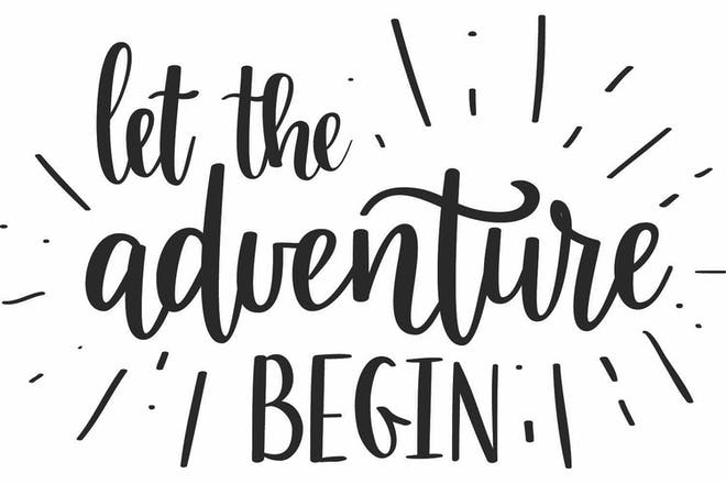 Words saying 'let the adventure begin'