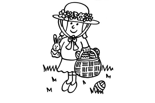 Easter girl holding basket