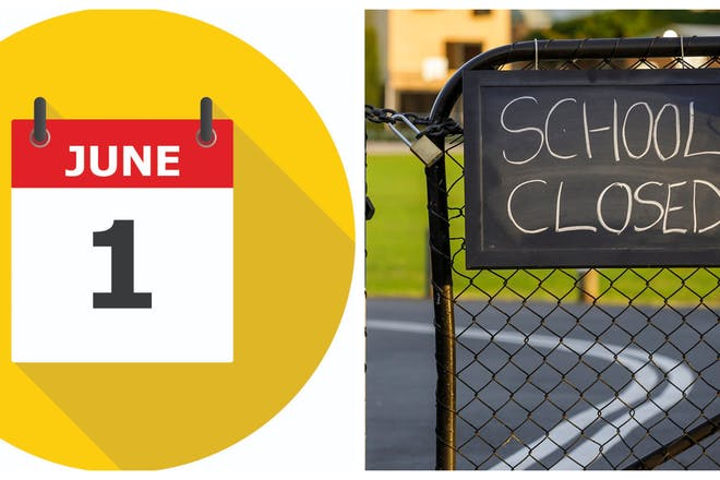 1 June calendar next to school closed sign