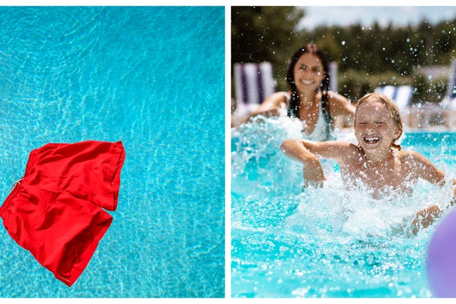 Red swim shorts floating in a pool (left), family having fun swimming (right)