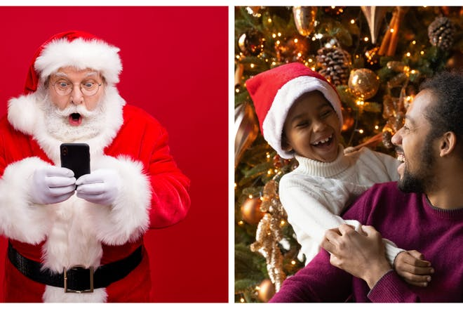 Santa on phone / excited dad and son at Christmas