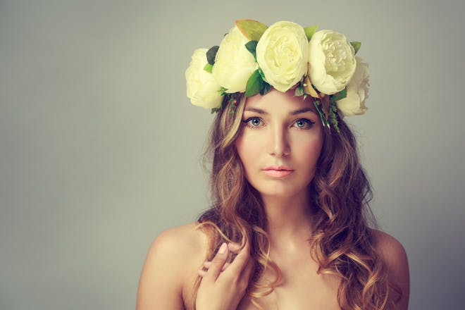 4. Floral crown with loose curls