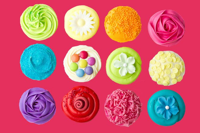 12 different coloured cupcakes