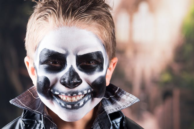 Halloween face paint for a skull