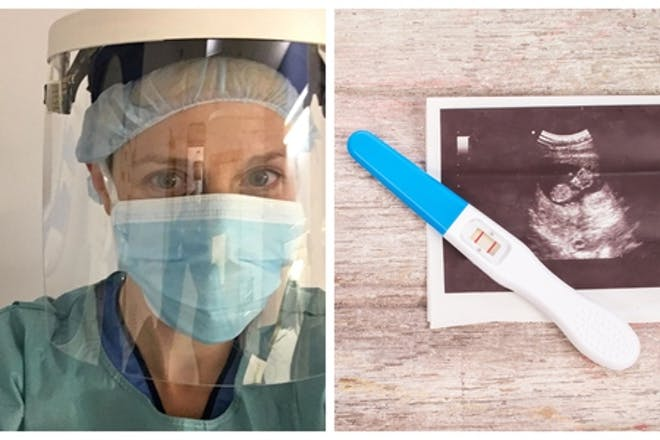 Midwife wearing protective gear next to picture of pregnancy test and scan