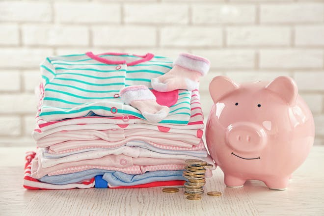 Laundry and piggy bank
