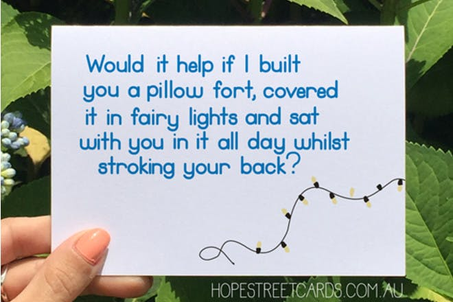 anxiety pillow card