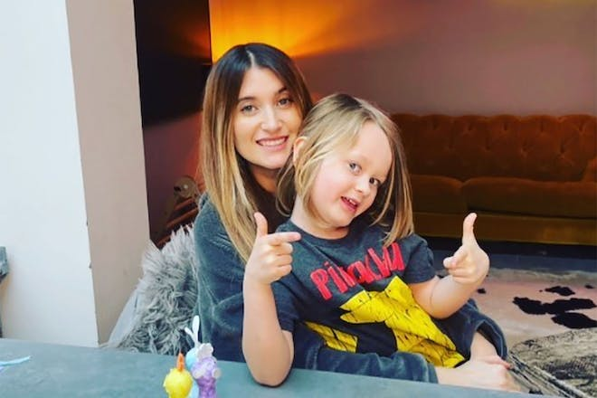 Charley Webb and her son Bowie