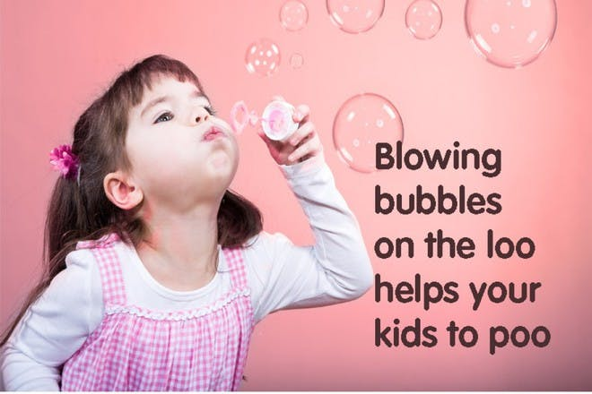Blowing bubbles on the loo helps kids poo