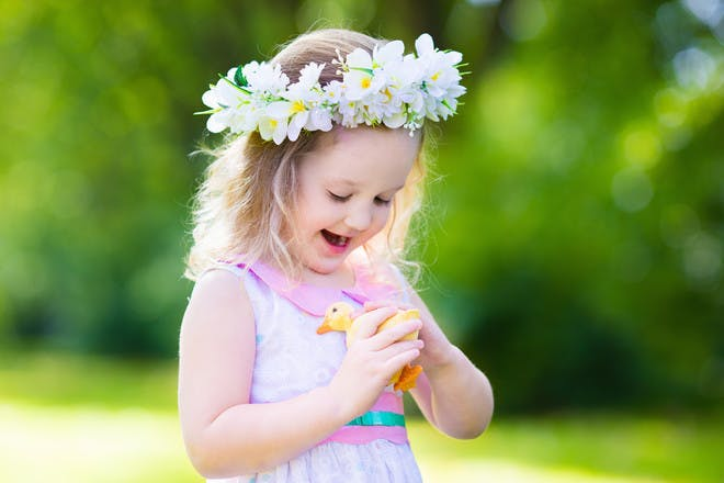 Little girl with crown of flowers
