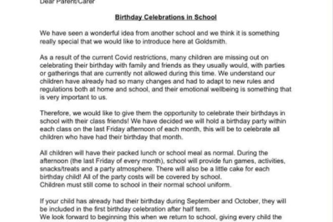 School birthday party letter