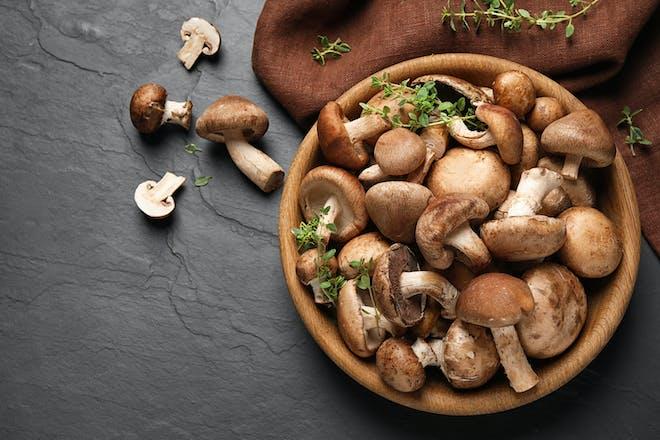 Mushrooms in a brown bowl