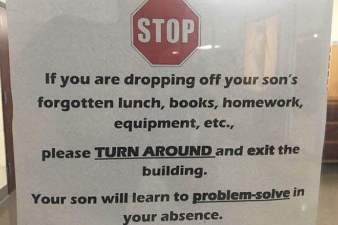 School's 'tough love' sign