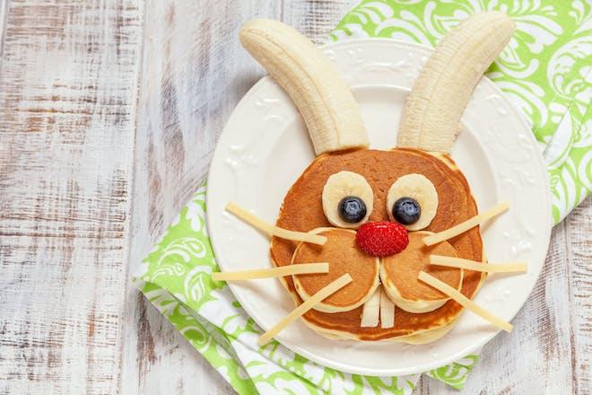 Pancake bunny fruit face