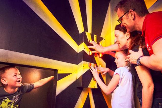 Family in an escape room
