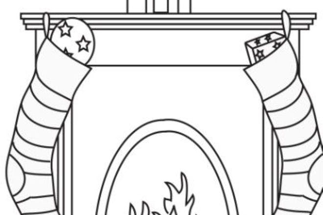 fireplace with stocking colouring
