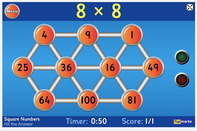 Quiz that asks 8 x 8 with various answers