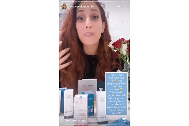 Still from Stacey Solomon insta stories showing beauty samples