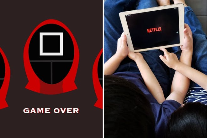 Left: game graphicRight: Netflix on an ipad