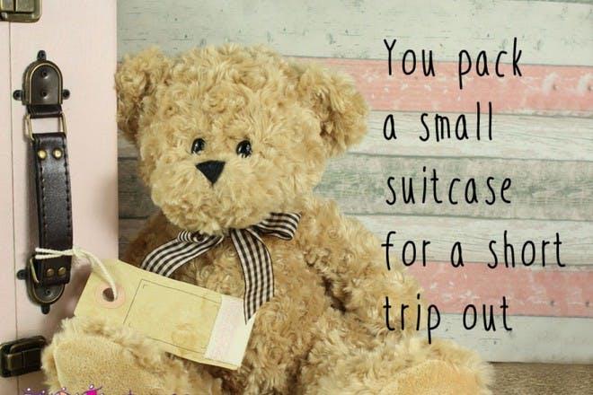 teddy bear next to suitcase