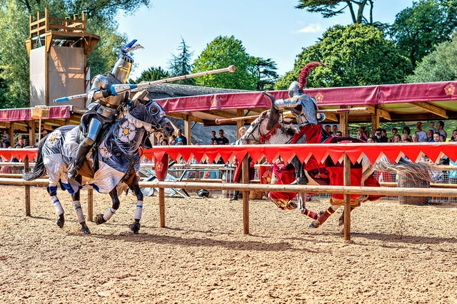 Knights jousting at Warwick castle