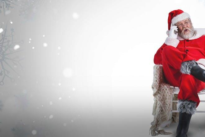 Santa talking on phone