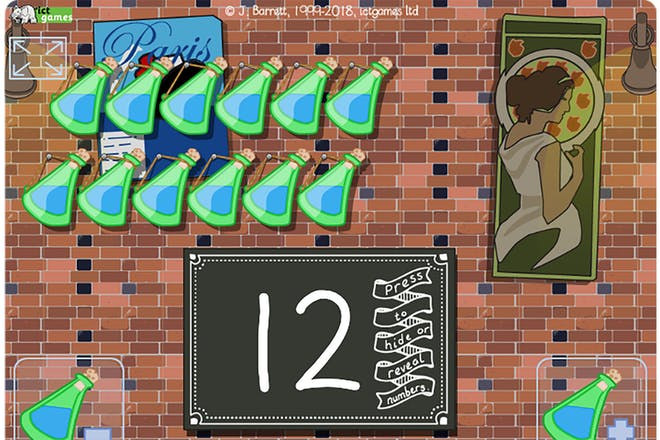 Screenshot of bottles take away maths game showing green bottles hanging on a wall and a number